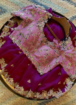 Magenta Organza Party Wear Saree