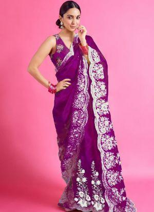 Magenta Organza Silk Kiara Advani Saree