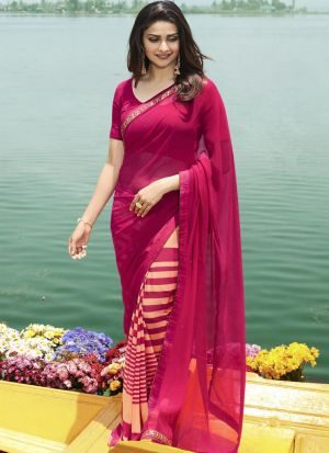 Magenta Pink Georgette Beautiful Printed Saree