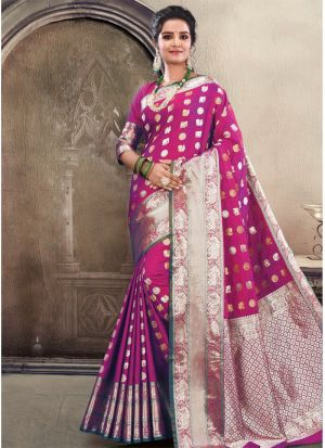 Magenta Pink Soft Silk Festive Wear Traditional Saree