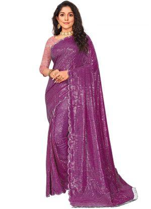 Magenta Sequins Work Dupion Silk Saree