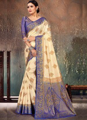 Magnetic Blue Naylon Silk Function Wear Saree