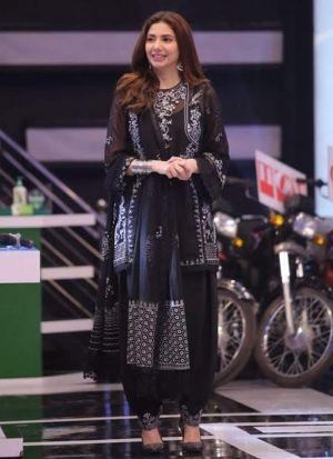Mahira Khan Black Georgette Embroidery Suit