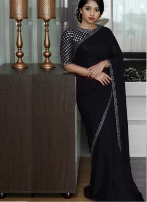 Malai Silk Black Saree With Beautiful Blouse