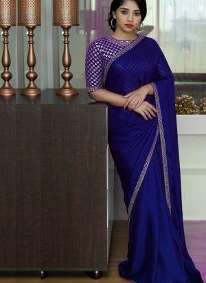 Malai Silk Navy Saree With Beautiful Blouse