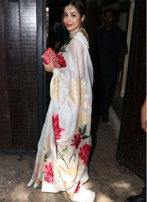 Malaika Arora Stylish White Silk Digital Printed Saree