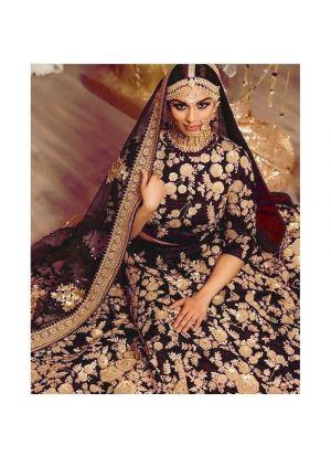 Maroon 9000 Velvet Bridal Lehenga Choli For Wedding