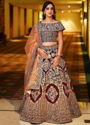 Maroon Banglori Satin Silk Wedding Bridal Lehenga Choli With Mono Net Dupatta