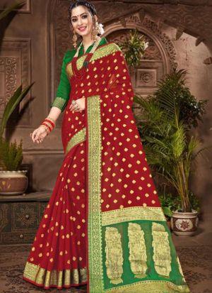 Maroon Chanderi Cotton Designer Indian Saree