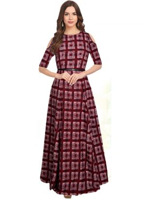 Maroon Cold Shoulder Sleeve Gown