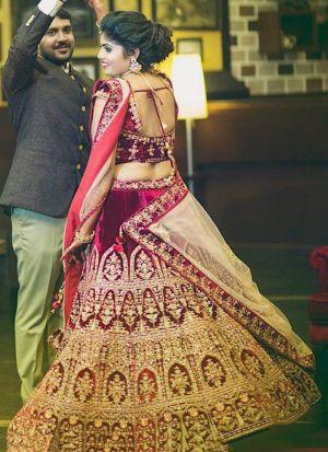 Maroon Color Velvet Silk Wedding Wear Indian Designer Bridal Lehenga Collection