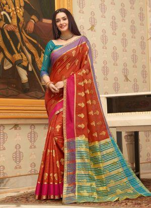 Maroon Cotton Handloom Beutiful Wedding Saree