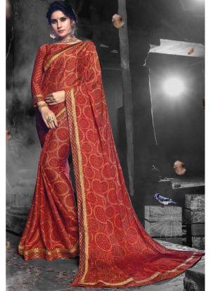 Maroon Designer Chiffon Saree Collection