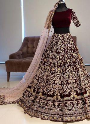 Maroon Embroidery Lehenga For Wedding