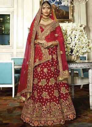 Maroon Fancy Thread Work Tafetta Silk Traditional lehenga choli