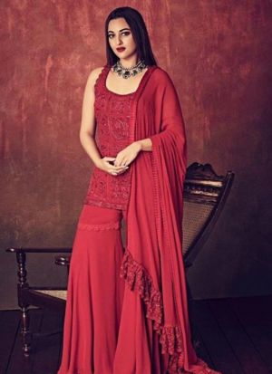 Maroon Georgette Bollywood Style Palazzo Suit
