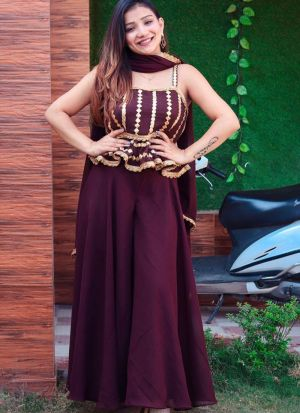 Maroon Georgette Party Wear Palazzo Suit