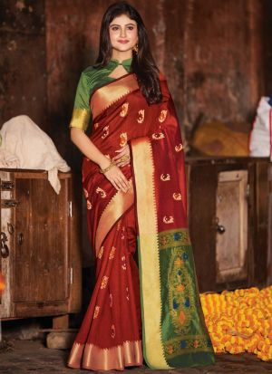 Maroon Handloom Cotton Designer Indian Saree