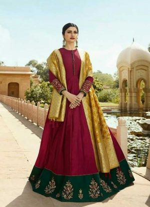 Maroon Jenny Silk Embroidered Bollywood Style Gown