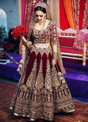 Maroon Makhmal Silk Designer Bridal Lehenga Choli