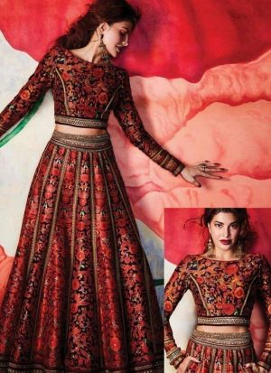 Maroon Printed Silk Lehenga Choli For Party Wear