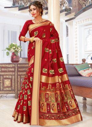 Maroon Pure Chanderi Cotton Designer Indian Saree