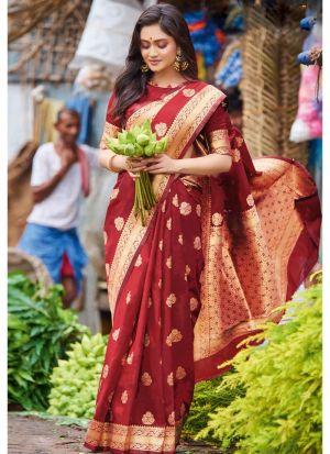 Maroon Pure Silk Festive Wear Traditional Saree