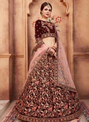 Maroon Pure Velvet Florals Vol 2 Designer Lehenga Choli