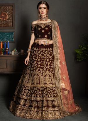 Maroon Pure Velvet Gulkhand Vol 1 Bridal Indian Lehenga Choli