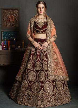 Maroon Pure Velvet Gulkhand Vol 1 Bridal Lehenga Choli For Sangeet