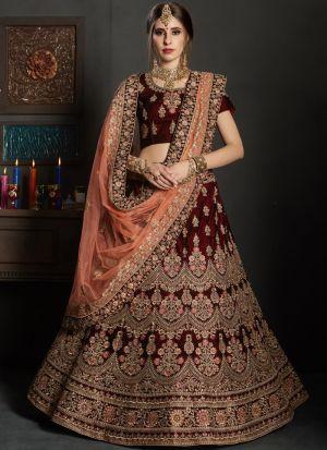 Maroon Pure Velvet Gulkhand Vol 1 Bridal Lehenga Choli