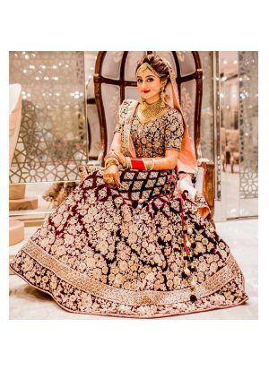 Maroon Pure Velvet Royal Looks Bridal Lehenga Choli With Mono Net Dupatta