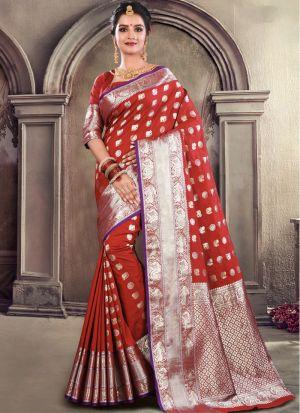 Maroon Soft Silk Designer Traditional Saree For Wedding