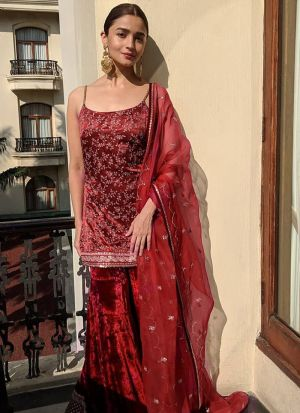 Maroon Thread Embroidered Bollywood Palazzo Suit