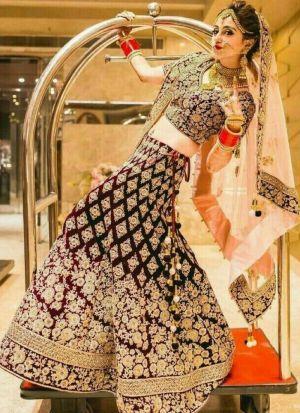 Maroon Velvet Bridal Lehenga Choli
