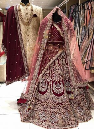 Maroon Velvet Embroidery Bridal Lehenga