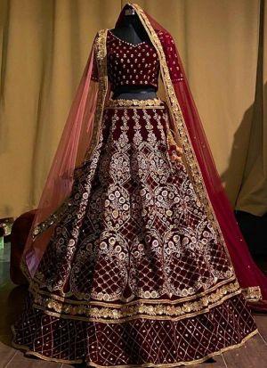 Maroon Velvet Embroidery Lehenga Choli
