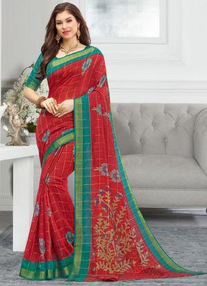 Maroon Women Wedding And Partywear Cotton Saree