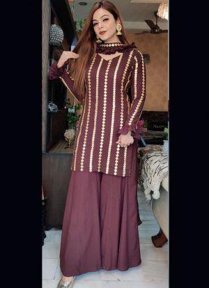 Maroon Zari Embroidery Work Salwar Suit