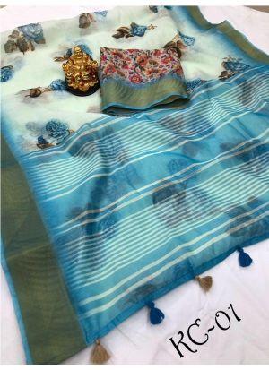 Marriage Special Multi Color Linen Saree