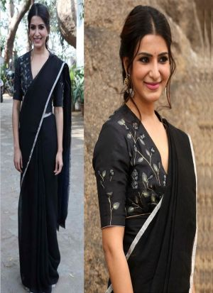Marvellous Black Saree With Fancy Thread Work Blouse