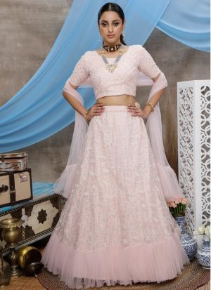 Marvellous Peach Embroidered Party Wear Lehenga Choli
