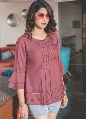 Mauve Pink Colour Ethnic Top With Beautiful Embroidery