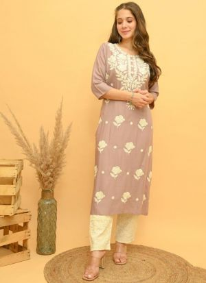 Mauve Rayon Embroidery Work Suit
