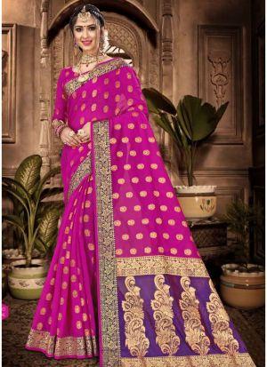 Medium Violet Red Chanderi Cotton Festive Wear Classy Saree