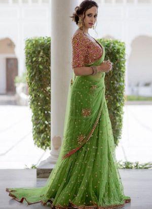 Mehandi Color Designer Saree In Naylon Mono Net Fabric