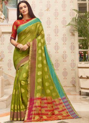 Mehandi Cotton Handloom Indian Traditional Saree