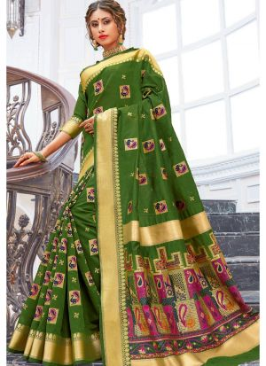 Mehandi Pure Chanderi Cotton Festive Wear Classy Saree