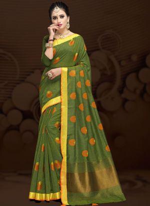 Mehandi Traditional Wear Saree In Cotton Silk Fabric