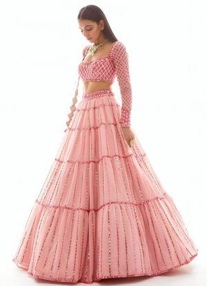 Mesmerising Baby Pink Colur Exclusive Thread Work Lehenga Choli